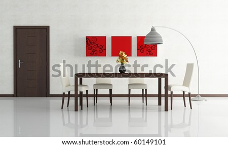 contemporary dining room with wooden door - rendering - stock photo