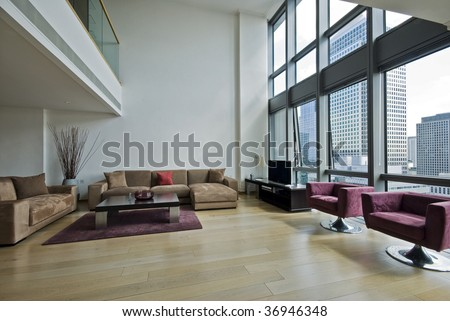 contemporary duplex penthouse apartment with mezzanine and nice frniture - stock photo