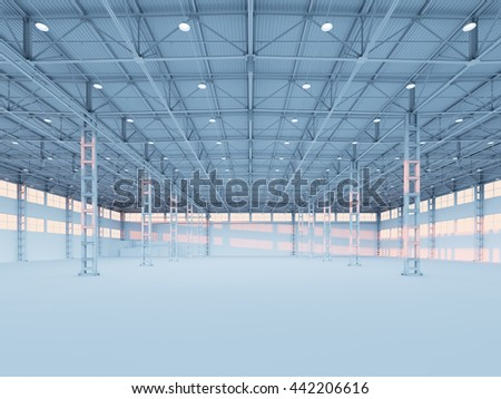 Contemporary empty white illuminated warehouse interior 3d illustration background - stock photo