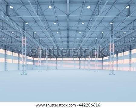 Contemporary empty white illuminated warehouse interior 3d illustration background - stock photo