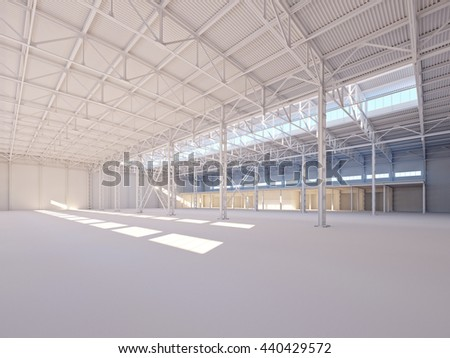 Contemporary empty white warehouse illuminated by sunlight interior 3d illustration background - stock photo