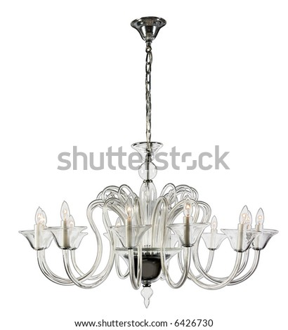 Contemporary glass chandelier. - stock photo