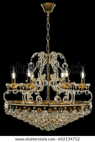 Contemporary gold chandelier isolated on black stock photo contemporary gold chandelier isolated on black background crystal chandelier mozeypictures Image collections