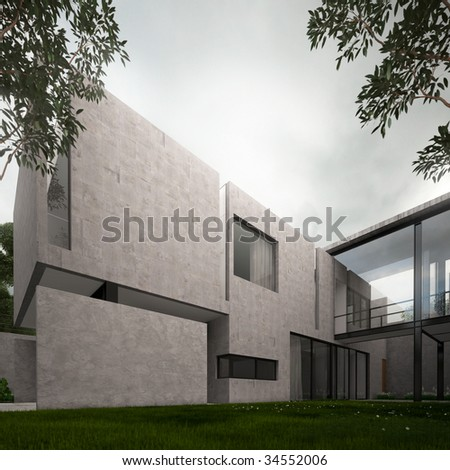Contemporary home with concrete, garden and ominous sky (3D render) - stock photo