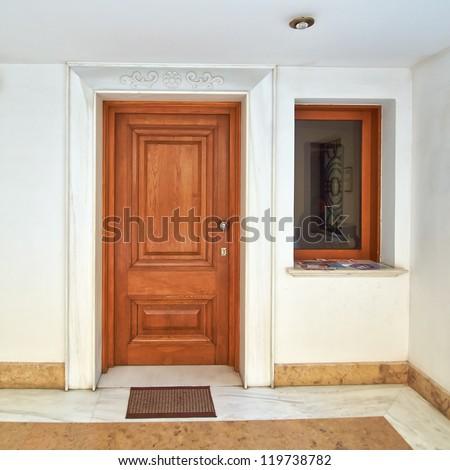 contemporary house door, Athens Greece - stock photo