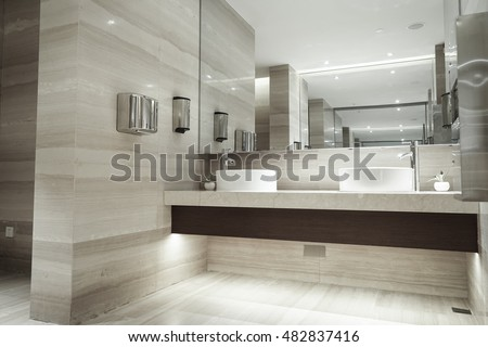 Modern bathroom hightech style 3d render stock illustration 271634807 shutterstock - Lavish white and grey kitchen for hygienic and bright view ...