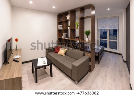 Contemporary living room in a brand new apartment