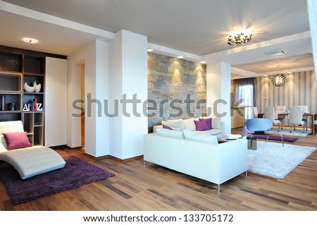 contemporary living room interior - stock photo