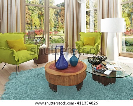 Contemporary living room with a sitting area with two chairs. Comfortable chairs in the style of kitsch green color with a coffee table and floor lamp white. 3D render. - stock photo
