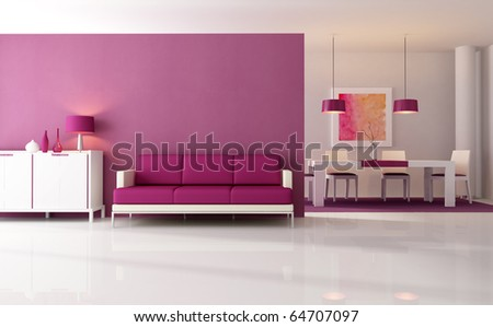 Contemporary Living Room Dining Space Rendering Stock Illustration ...