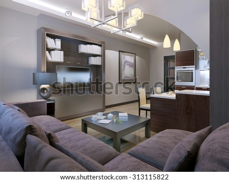 Contemporary living room with kitchen on background. 3D render