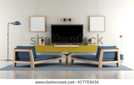 Contemporary Living room with TV and  two day beds - 3d rendering - stock photo