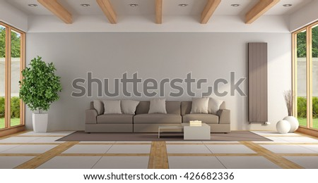 Contemporary lounge with brown sofa,windows and elegant floor - 3d rendering - stock photo