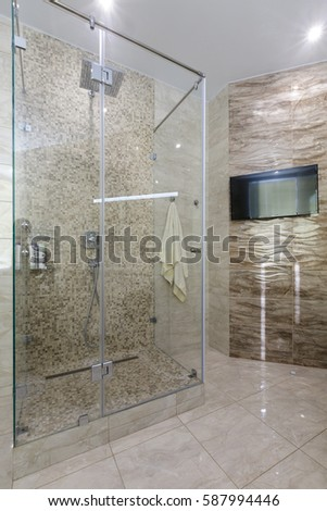 contemporary luxury apartment brand new design luxurious bathroom with white sanitary ware stone tile