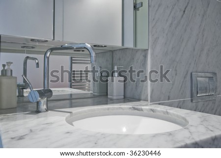 contemporary marble bathroom - stock photo