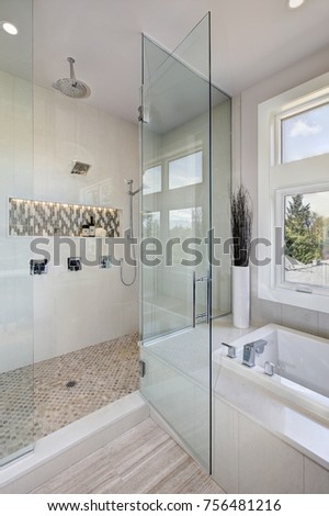 Contemporary master bathroom features glass walk-in shower, drop-in tub with a perfect window view. Northwest, USA