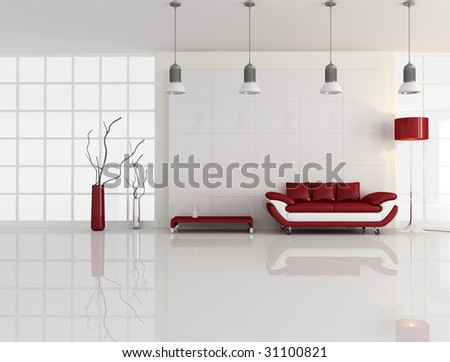 contemporary minimal living room with leather sofa - rendering - stock photo