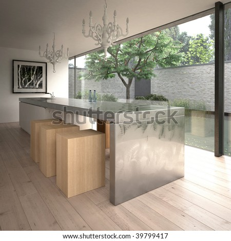 Contemporary minimalist kitchen in modern house (3D render) - stock photo