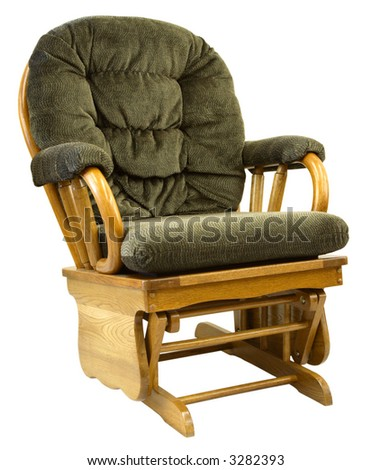 Contemporary Oak Glide Rocking Chair in Tweed Fabric - stock photo