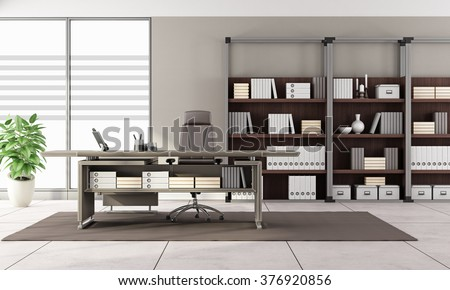 Contemporary office with leather desk and bookcase - 3D Rendering - stock photo