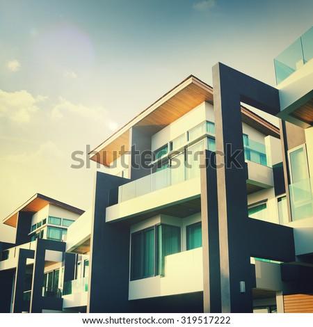 Contemporary Residential Building Exterior Concept - stock photo