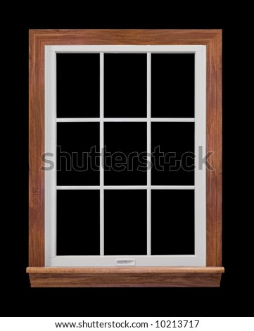 Contemporary, residential window frame isolated on black - stock photo