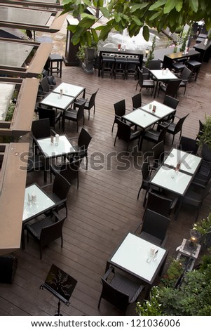 Contemporary restaurant from top view - stock photo