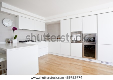 contemporary style kitchen - stock photo