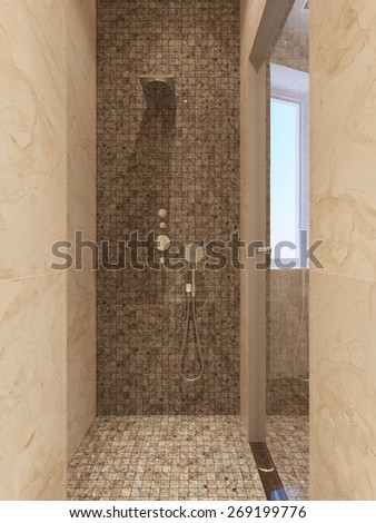 Contemporary style shower. 3d render - stock photo