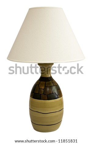 Contemporary Table Lamp and Shade in Earth Tone Colors - stock photo