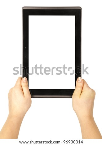 Contemporary tablet computer in woman hands isolated on white background - stock photo