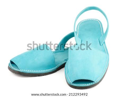 Contemporary Turquoise Shammy Men Sandals isolated on white background - stock photo