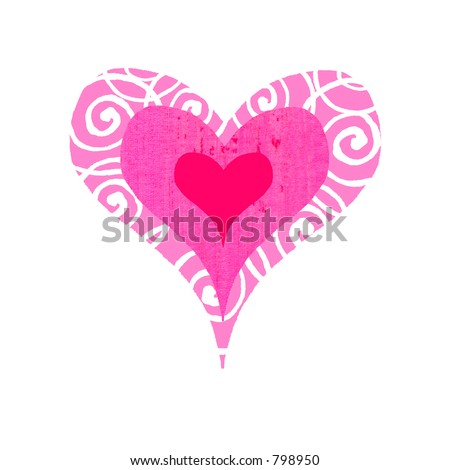 Contemporary valentines illustration of a groovy, bulls-eye heart - stock photo