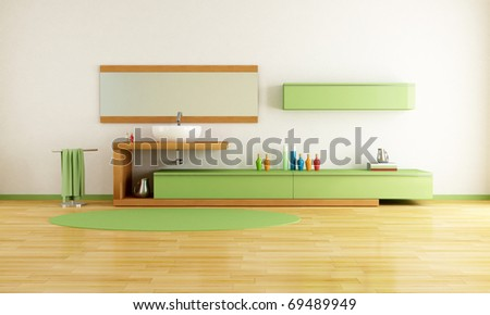 contemporary washstand in a green and wooden bathroom - rendering - stock photo
