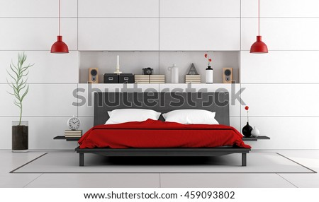 Contemporary white bedroom with black double bed and niche - 3d rendering