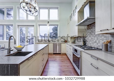 Contemporary White Kitchen With Upscale Appliances, Custom Built Cabinets,  Big Island With Granite Countertop