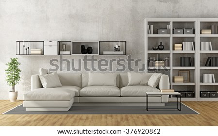 Contemporary white living room with sofa, bookcase and sideboard on concrete wall - 3D Rendering - stock photo