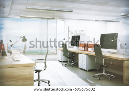 Contemporray office room interior with workplace, equipment, city view and daylight. Real estate, workspace, business concept. 3D Rendering