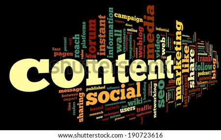 Content and Social media concept in word tag cloud on black background - stock photo