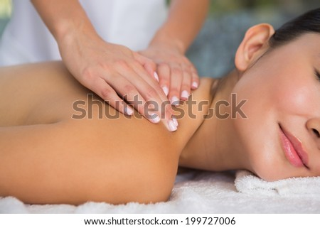 Content brunette getting a back massage at the spa - stock photo