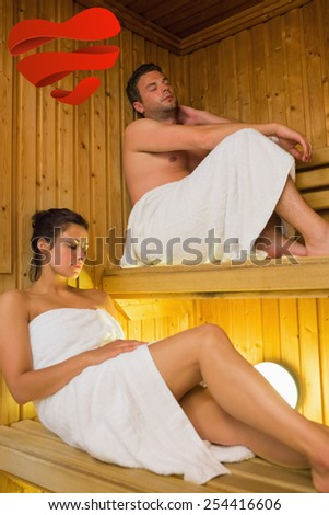 Content couple relaxing in a sauna against heart - stock photo
