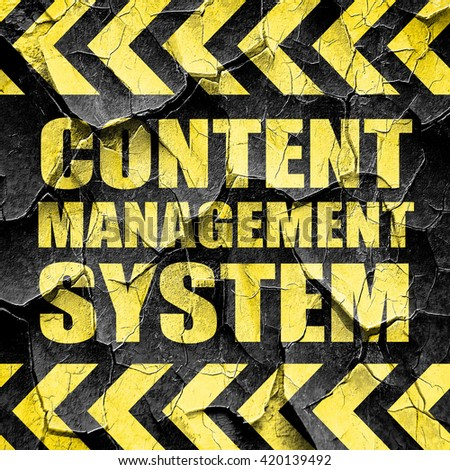 content management system, black and yellow rough hazard stripes - stock photo