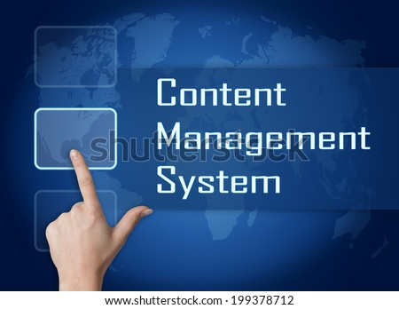 Content Management System concept with interface and world map on blue background - stock photo