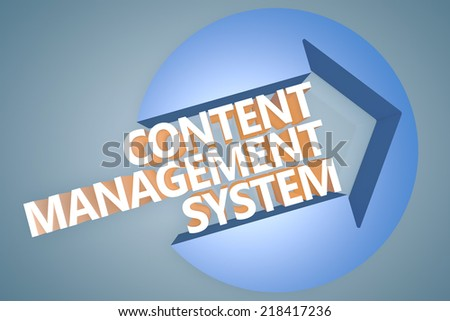 Content Management System - 3d text render illustration concept with a arrow in a circle on blue-grey background - stock photo
