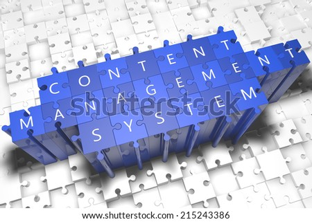 Content Management System - puzzle 3d render illustration with block letters on blue jigsaw pieces  - stock photo