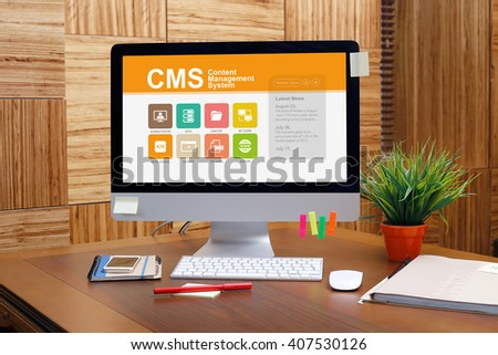 Content Management System screen on the workplace - stock photo