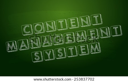 content management system - white chalk text over green blackboard, CMS internet concept words - stock photo