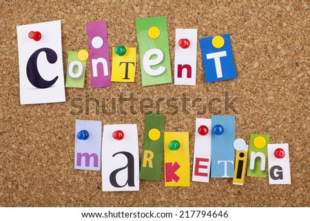 Content Marketing cut out letters - stock photo