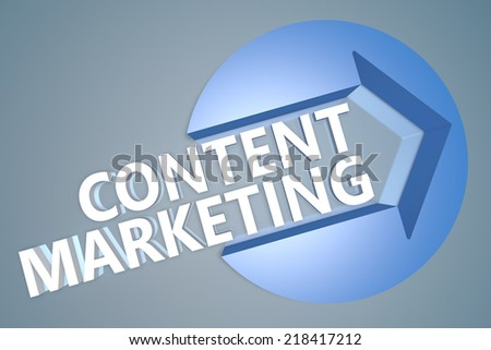 Content Marketing - 3d text render illustration concept with a arrow in a circle on blue-grey background - stock photo