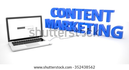 Content Marketing - laptop notebook computer connected to a word on white background. 3d render illustration. - stock photo